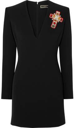 Versace Crystal-embellished Silk-cady Mini Dress - Black