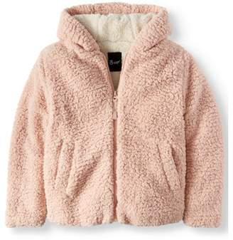 BHIP Hooded Babo Fur Zip Up Jacket (Big Girls)