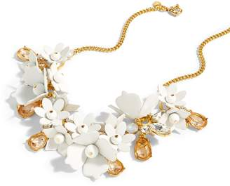 J.Crew Leather Flower Statement Necklace with Stones