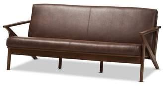 Baxton Studio Bianca Mid-Century Modern Walnut Wood Dark Brown Distressed Faux Leather 3-Seater Sofa