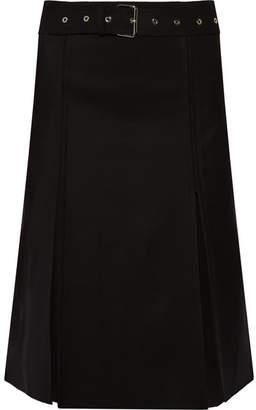 Helmut Lang Pleated Wool-blend Skirt - Black