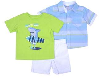 Nannette Baby Toddler Boy Short Sleeve Woven Shirt, T-shirt & Twill Shorts, 3pc Outfit Set