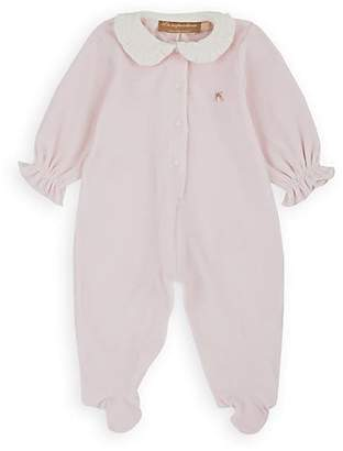 La Stupenderia Infants' Ruffled-Collar Velour Footed Coverall - Pink