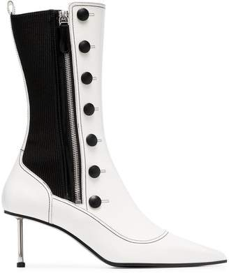 Alexander McQueen white 65 two tone leather boots