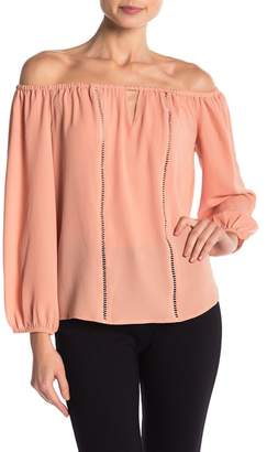 Cynthia Steffe CeCe by Off-the-Shoulder Keyhole Blouse