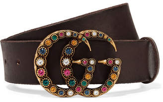 Gucci Crystal-embellished Leather Belt - Brown