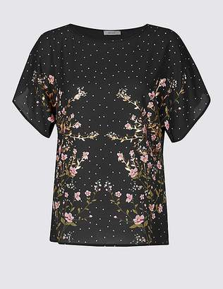 Marks and Spencer Woven Front Floral Foil Print T-Shirt