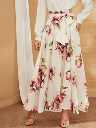 Shein Floral Print Paperbag Waist Maxi Skirt