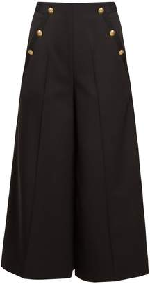 Lanvin High-rise wide-leg wool cropped trousers