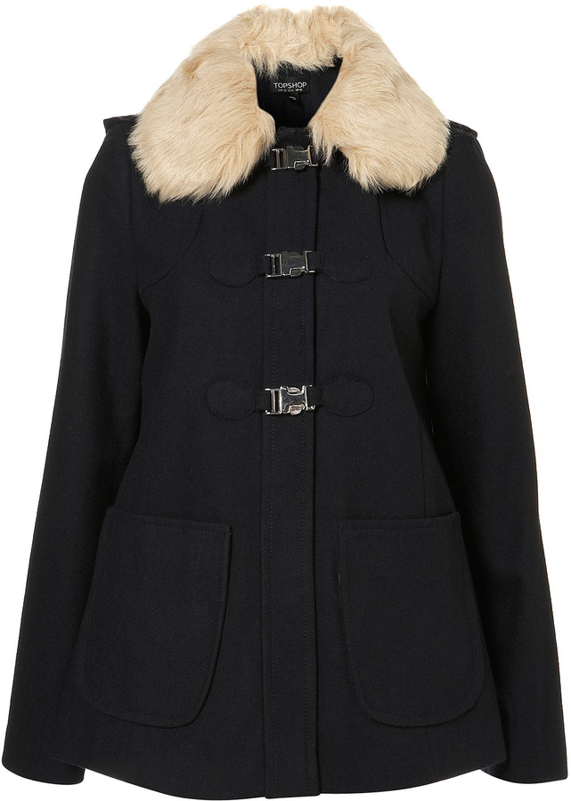 Short Fur Collar Swing Coat