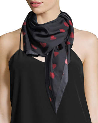 Lisa King Paper Heart Square Silk Twill Scarf, Black/Red