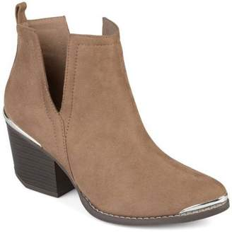 Co Brinley Collection Brinley Womens Faux Suede Stacked Wood Heel Metal Detail Side Slit Booties