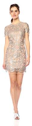 Dress the Population Women's Megan Short Sleeve Sequin Lace Mini Sheath Dress