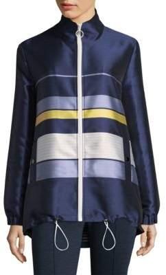 St. John Striped Funnel Neck Jacket