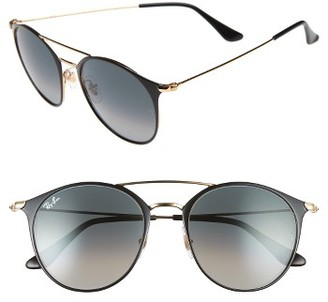 Women's Ray-Ban Highstreet 52Mm Round Brow Bar Sunglasses - Black $175 thestylecure.com