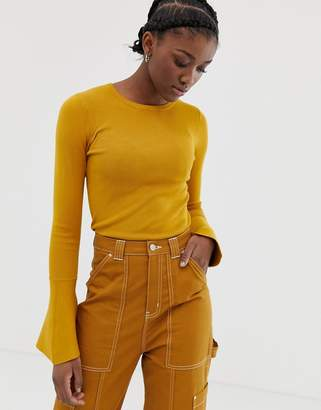 Asos DESIGN skinny crew neck sweater with flared sleeve