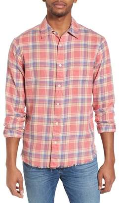 Frame Fray Hem Plaid Slim Fit Flannel Shirt