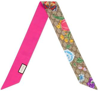 Gucci GG silk neck bow with Flora print