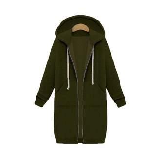 Missroo Plus Size Winter Womens Zip Up Open Hooded Hoodies Ladies Long Sleeve Coat Tops Jacket S-5XL Plus