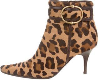 CelineCéline Leopard Ponyhair Ankle Boots