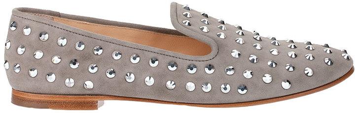 Giuseppe Zanotti Crystal studded suede loafer