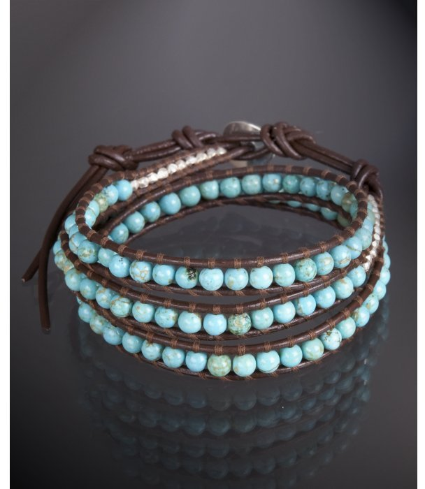 Chan Luu turquoise and silver nugget leather wrap bracelet