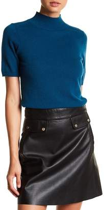 In Cashmere Short Sleeve Mock Neck Cashmere Sweater