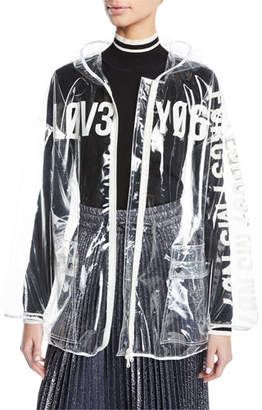 RED Valentino Love Notes See-Through Vinyl Rain Jacket