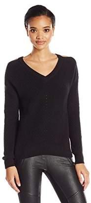 Michael Stars Women's Alpine Knit Vee Neck Cold Shoulder Sweater