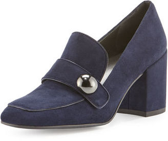 Stuart Weitzman Dundee Suede Loafer Pump $435 thestylecure.com