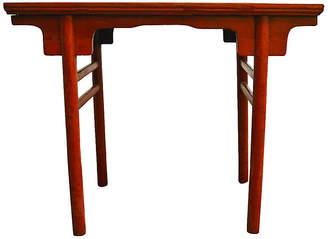 One Kings Lane Vintage Antique Red Lacquered Table - FEA Home