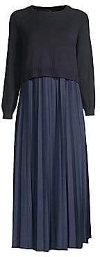 Max Mara Women's Pleated Chiffon& Knit Midi Sweater Dress