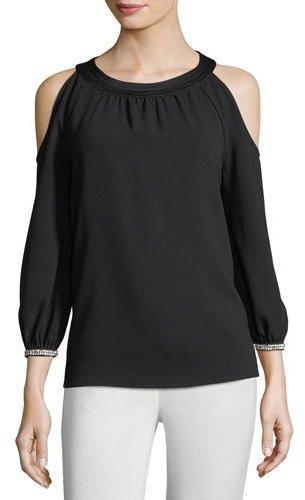 Trina Turk Round-Neck Crepe Cold-Shoulder Top w/ Embellished Cuffs