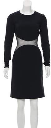 Stella McCartney Mesh-Accented Sheath Dress wool Mesh-Accented Sheath Dress