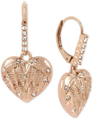 Betsey Johnson Rose Gold-Tone Pave Winged Heart Drop Earrings
