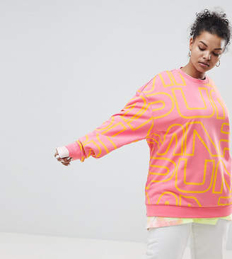 Puma Exclusive To ASOS Plus Sweatshirt With All Over Logo In Pink