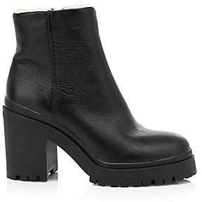 Rebecca Minkoff Women's Milana Fur-Lined Leather Combat Boots