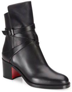 Christian Louboutin Karistrap Leather Block-Heel Booties $1,095 thestylecure.com