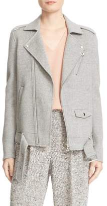 Theory Tralsmin Wool Blend Moto Jacket $595 thestylecure.com