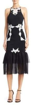 Jonathan Simkhai Corded Lace Racerback Crepe Midi Dress