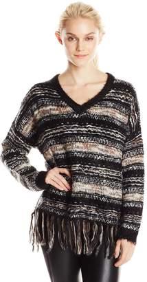 Blu Pepper Women's Fringe Hem Multi Stripe Sweater
