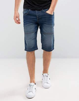Solid Denim Shorts In Mid Wash Blue
