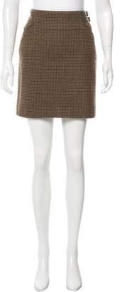 Ralph Lauren Purple Label Leather-Accented Wool Mini Skirt