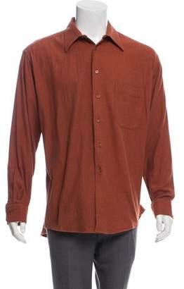 Burberry Herringbone Woven Button-Up Shirt