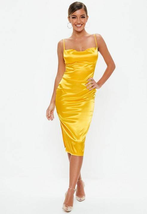Mustard Satin Cowl Front Midi Dress, Mustard