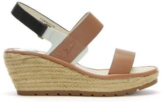 Fly London Ekan White Leather Two Strap Wedge Espadrille Sandals