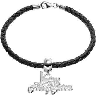 "Insignia Collection Sterling Silver & Leather ""I Love My Firefighter"" Charm Bracelet"