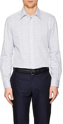 Luciano Barbera Men's Dotted Cotton Poplin Shirt