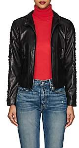 Giorgio Armani Women's Velvet-Trimmed Leather Jacket - Black