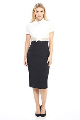Maggy London Women's Petite Solid Crepe Color Block Short Sleeve Sheath